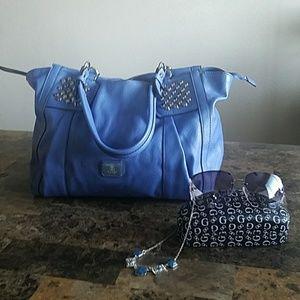 Guess shoulder medium to large Blue hand bag